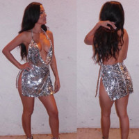 Shiny piece of low-cut condole backless dress skirt