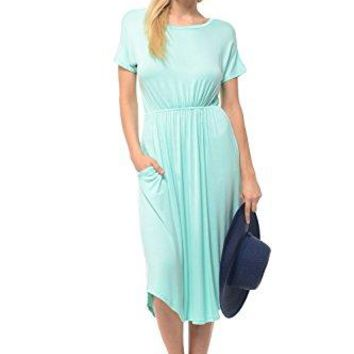 iconic luxe Womens Short Sleeve Flare Midi Dress with Pockets in Solid and Floral  Made in USA