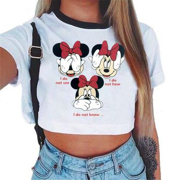 Fashion White Summer Girl T Shirt Mickey Mouse Woman Cute Letter Print tops Solid Color Tee Female Casual Short Sleeves Tops