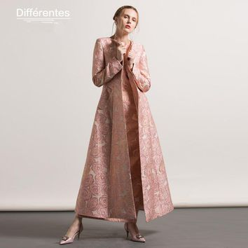 Quality S- XXXL Plus size Autumn Winter Jacquard Embroidery Maxi Long Trench 2017 Vintage Floral Luxury Women Outwear Coat
