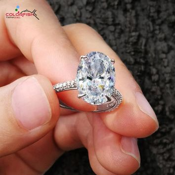 COLORFISH Luxury 5 Carat Oval Cut 925 Sterling Silver Rings For Women Big Stone Solitaire Engagement Ring Female Wedding Bands