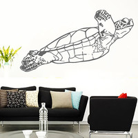 Green Sea Turtle Vinyl Decals Wall Sticker Art Design Living Room Modern Bedroom Nice Picture Home Decor Hall  Interior ki843