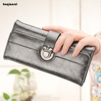 European and American Style Women Wallets Purses Long Wallet Woman Elegant Female Solid Women's Wallet Leather Wallet Purses