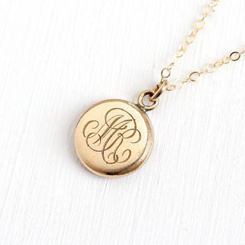 "Antique Monogrammed ""MR"" Gold Filled Pendant Necklace - Vintage Early 1900s Edwardian Art Deco Initialed Charm Fob Jewelry"