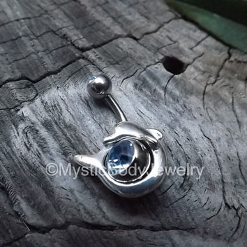 "Belly Ring 14g Dolphin Silver 3/8"" Sapphire Gemstone Navel Button Piercings Body Gems Jewelry Navel Shield Jewel Blue 10mm Curved Barbells"