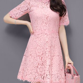 Casual Classic Chic Hollow Out Plain Lace Skater Dress