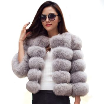 NEW ARRIVAL Elegant Faux Fur Coat fluffy Jacket 2017 Winter Women Thick Warm Faux Fur Coats Outerwear Fake Fur Jacket LJLS011
