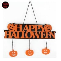 DKF4S Halloween Decoration HAPPY HALLOWEEN Hanging Hangtag Halloween Window Decoration Halloween Pumpkin Hanging Strips HW057