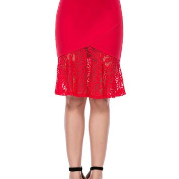 Streetstyle  Casual Patchwork Hollow Out Plain Mermaid Midi Skirt
