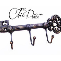 Skeleton Key Wall Hook, Key Hanger, Black Distressed