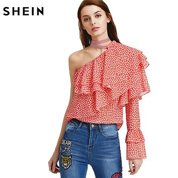 Sexy Women Blouses Woman's Fashion Summer Blouse Ladies One Shoulder Dot Print Layered Ruffle Top