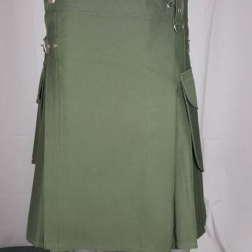 OLIVE GREEN CARGO POCKETS KILT CUSTOM MADE