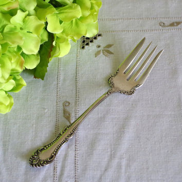 Antique Wm A Rogers Serving Fork- 1898 A1 Silver Plate-  Large Silver Serving Piece- Meat or Salad Fork