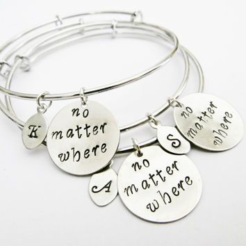 Personalized Best Friends Bangle Bracelet Set 3 Friendship Bracelets, Friendship Jewelry, Gift Best Friend Jewelry, no matter where, initial