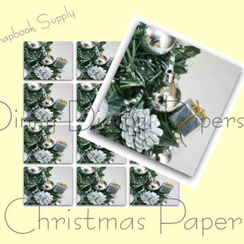 Christmas Tree Papers, Digital Christmas Art, Card Making, Christmas Supplies, Silver Christmas Tree