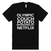 Couch Potato-Unisex Black T-Shirt