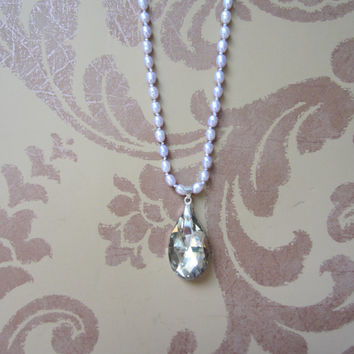 Freshwater Pearl Necklace,  Lavender pearls, Crystal teardrop Pendant, Hand knotted Boho Glam Jewelry, Light Purple Pearls, Beaded Necklace