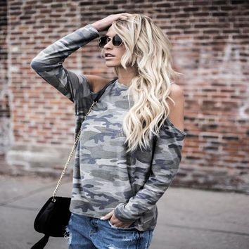 Ladies Strong Character Camouflage Long Sleeve Tops T-shirts [129154351129]