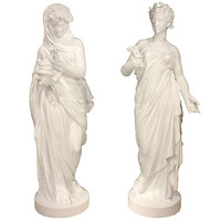 A Pair Of Large Scale French Mid 19th Century Cast Iron Statues