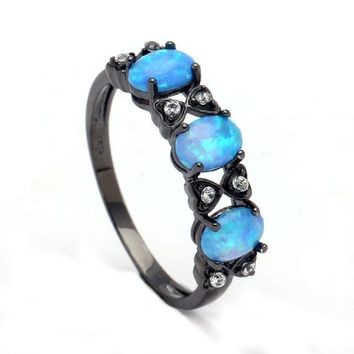 ac spbest Opal Rings for Women royal blue natural stone Ring Opals Black gold-color Sales Fashion Jewelry Wedding engagement finger ring