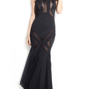 Black Halter Sheer Mesh Fishtail Maxi Dress