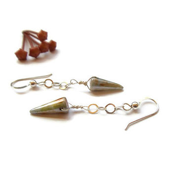 little glass spike dangle earrings // sterling silver beaded jewelry