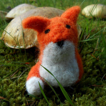 Needle Felted Fox Felt Animal Felted Fox Wool Needle Felted Fox Ornament Fox Toy Woodland Fox Christmas Gift Valentines Gift Fox Decor Wool