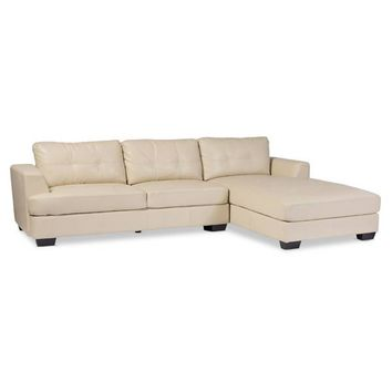 Baxton Studio Dobson Leather Modern Sectional Sofa