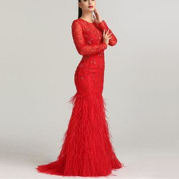 2018 Dubai Designer CUT-OUT Evening Dresses Long Sleeves Diamond Feathers Mermaid Tulle Evening Gowns LA6407