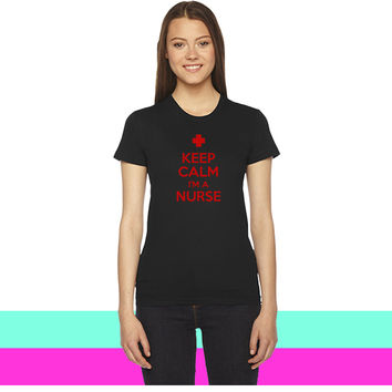keep calm im a nurse (2) women T-shirt
