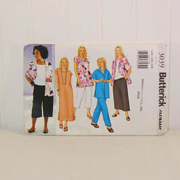 Butterick 3039 Fast & Easy Plus Size Sewing Pattern (c. 2001) Women's and Women's Petite Sizes 16W, 18W, 20W, Shirt, Top, Tunic, Dress, Pant