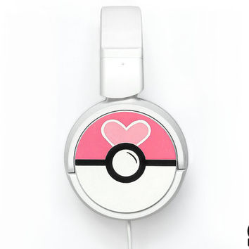 Love Ball Poke-phones cute Headphones earphones heart white pink fuchsia raspberry hot pink magenta hand painted girly