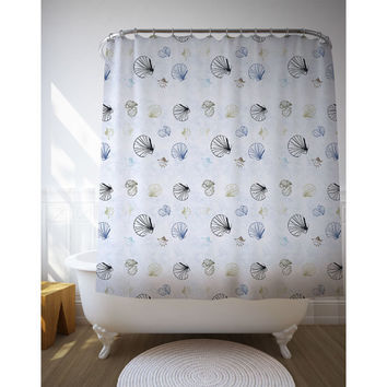 Sea Shells Curtain, Beach Decor Shower Curtains, Graphic Pattern