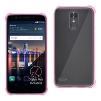 LG Stylo 3/ Stylus 3 Bumper Case With Air Cushion Shock Absorption (Clear Hot Pink)