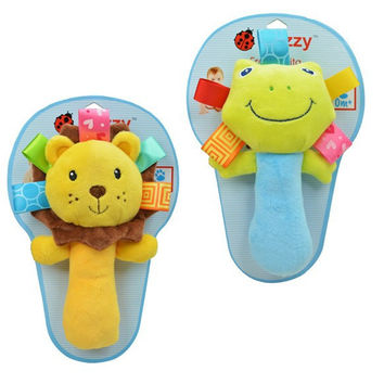 Hot infant animal hand bell baby Rattles plush stuffed toy children mobiles sounding educational handbell 5 choice free shipping