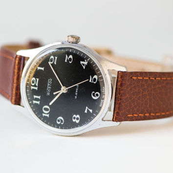 Men's wristwatch black, Soviet men watch WOSTOK\East, classy gent watch, minimalist men watch,mechanical watch 70s,premium leather strap new