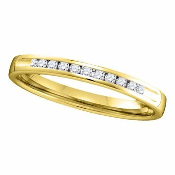 14kt Yellow Gold Women's Round Channel-set Diamond Single Row Wedding Band 1-10 Cttw - FREE Shipping (US/CAN)