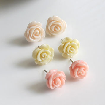 Pink, Ivory Cream, Cream Peach Roses. Bridal Wedding Floral Earrings. Light Pastel Colours. Surgical Stainless Steel Ear Accessories