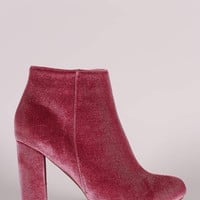 Liliana Velvet Almond Toe Chunky Heeled Booties