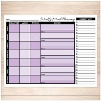Purple Weekly Meal Planning Page with Grocery List - Printable
