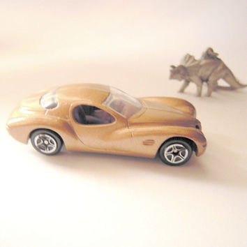 Collector Matchbox gold Chrysler Atlantic car, great condition, gold car, 1997, toy car collection, man cave,