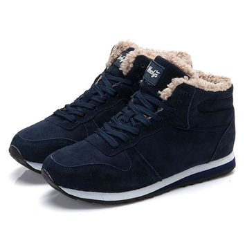 Men's Cozy Warm Winter Vulcanized Suede Lace Up Tennis Shoes With Soft Fleece Lining