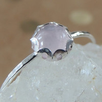 Pink Quartz Sterling Silver Ring with scalloped setting. Cute Pink Skinny Gemstone ring. Gemstone Stacking Ring. Made to order