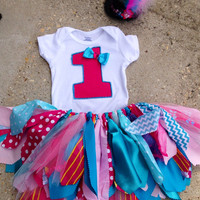 Turquoise blue and Pink Circus birthday outfit, Pink and Turquoise Birthday Outfit - carnival tutu - shabby chic outfit, mini top hat