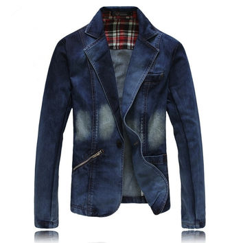 Slim bleiser masculino Spring Fall Fashion Men's Blue Denim Jacket Casual Coats Blazer Formal Dress Blazers blaser masculino