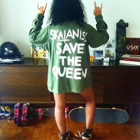Skatanist save the queen military jacket. Street style skateboarding roller derby. M, L, XL.