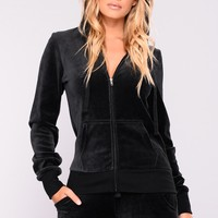 New School Velour Jacket - Black