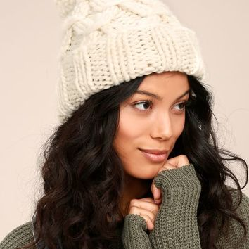 San Diego Hat Co. Marshmallow White Knit Beanie