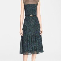 Women's Jason Wu Abstract Print Pintuck Pleated Georgette Dress with Belt