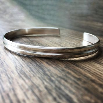 Simple Hammered Sterling Silver Cuff Bracelet